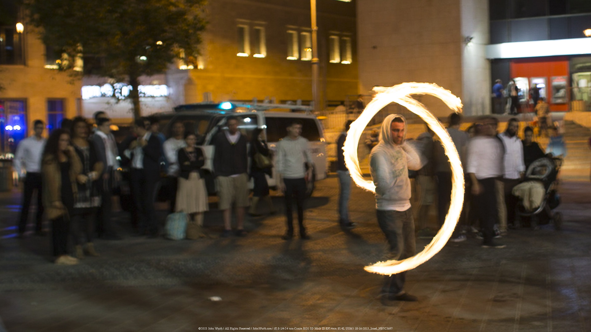 Fire Spinner in Jerusalem, Israel